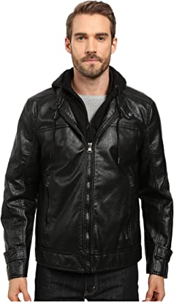 Newfane Distressed Faux Leather Moto Jacket with Removable Bib Hoodie
