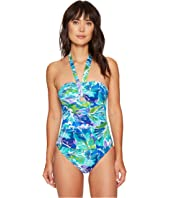 LAUREN Ralph Lauren Lush Tropical Cut Out One-Piece