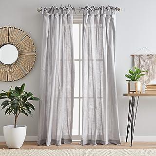 "Peri Home Sheer Cotton Tie Tab Window Curtain Panel Pair, 84"", Silver"