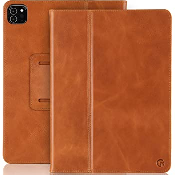 Casemade iPad Pro 11 (2nd Generation 2020 Model) Real Leather Case - Premium Luxury Italian Slim Cover/Smart Folio with Dual Stand and Auto Sleep/Wake (Tan)