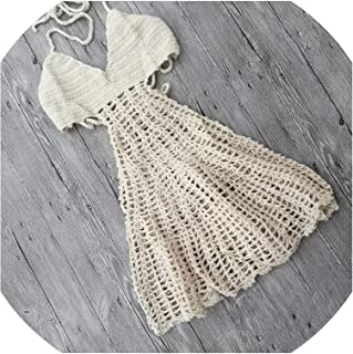 Cover Ups Bikini Crochet Rojo Negro Openwork Knit Backless Swimwear Beach Dress