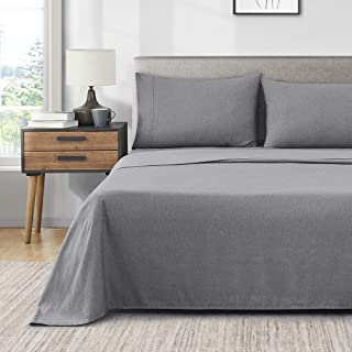 Umchord Sheets Set, 4 Piece Grey Full Sheet Set, Extra Soft 1800 Thread Count 16 Inches Deep Pocket Cationic Dyeing Coolin...