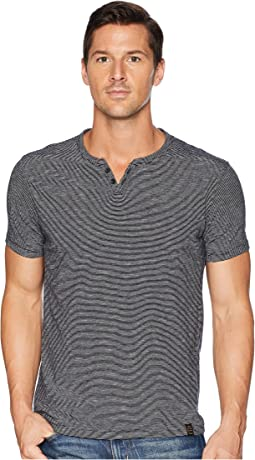 Textured Stripe Notch Neck Shirt