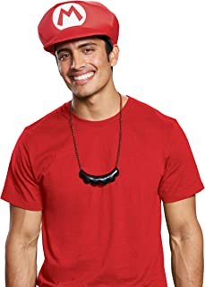 Disguise Men's New Mario Hat & Mustache Necklace Costume Kit