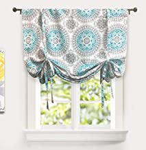 DriftAway Bella Tie Up Curtain Floral Pattern Room Darkening Thermal Insulated Blackout Window Curtain Adjustable Balloon Curtain Shade for Small Window Single 45 Inch by 63 Inch Aqua and Gray