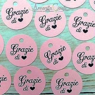 50 pezzi Cartellini Stampati bimba per bomboniera, 3 centimetri, tag Grazie, tondo, etichette, nascita, battesimo, cresima...