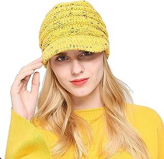 858f85461c638e Green Billow Women's Ponytail Beanie Warm Knit Hat High Bun Visor Cap  Outdoor