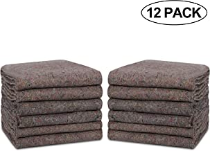 Textile Moving Blankets 12 Packs - 54 x 74 Inches (20 lb/dz) Moving Pads for Short Term Moves & Storage, Shipping Furniture Pads