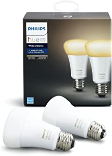 Philips Hue White Ambiance A19 2-Pack 60W Equivalent Dimmable LED Smart Bulbs (Hue Hub Required, Works with Alexa, Apple H...