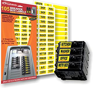Circuit Breaker Decals - 105 Tough vinyl labels for Breaker Panel Boxes - Great for Home or Office - Apartment Complexes a...