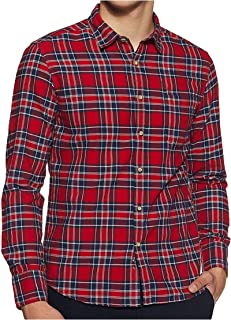 Relish Shirts Men's Full Sleeve Checkered Casual Shirt|Cotton|Checkered|Regular Fit|Red, Blue & White|M(39),L(40),XL(42)|Shirts for Men|Checkered Shirts for Men