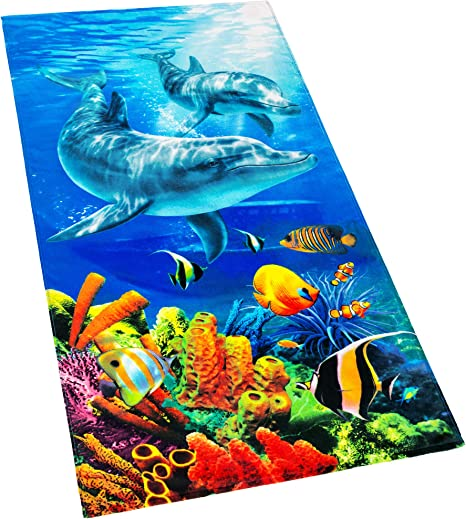 OCEAN REEF DIGITAL Cotton TERRY TOWELLING Fabric Material