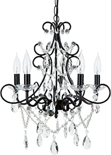Amalfi Decor 5 Light LED Crystal Beaded Chandelier, Mini Wrought Iron K9 Glass Pendant Light Fixture Contemporary Nursery Kids Room Dimmable Plug in Hanging Ceiling Lamp, Black