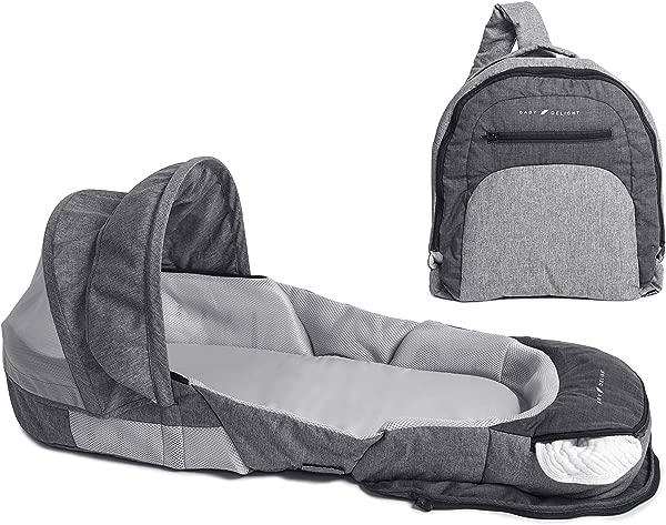 婴儿快乐依偎窝冒险便携式婴儿卧铺旅行床摇篮天篷和臭虫网包括