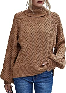 Byinns Women's Turtleneck Pullover Sweaters Loose fit Baggy Slouchy Knit Tops