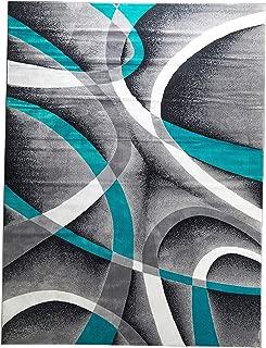 Pеrsiаn аrеа Rugs ホームデコレーション 8x11 2305 ターコイズホワイト渦巻き 7フィート10 x10フィート6 モダン抽象エリアラグ