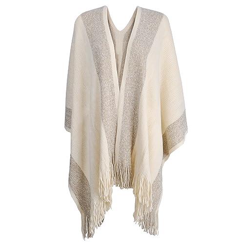bdabca641 ZLYC Women's Shawl Golden Trim Knit Blanket Wrap Fringe Poncho Coat Cardigan