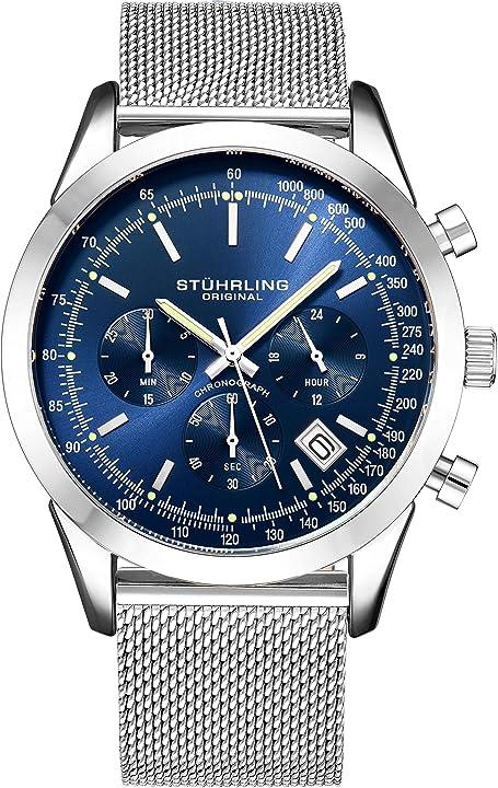 Cronografo stuhrling original da uomo, cinturino a maglia in acciaio inox e resistente all`acqua fino a 100 m 3975.2