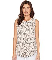 Tommy Hilfiger Sleeveless Woven Raindrop Print Cascading Ruffle Front Top