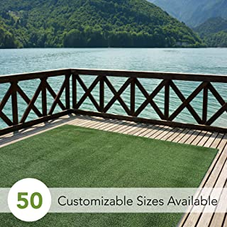 iCustomRug Indoor/Outdoor Turf Rugs and Runners Artificial Grass Many Custom Sizes and Widths Finished Edges with Binding Tape Green 12` X 18`
