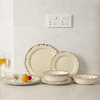 Melamine Dinnerware set-12pcs Outdoor Use Melamine Dinner Plates and Bowls Set, Lightweight Unbreakable, Crackle Pattern(Beige)