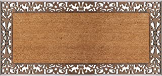 "A1 Home Collections LLC Rubber Coir Heavy Doormat, 30"" X 60"", Bronze Paisley Border-30 x60"