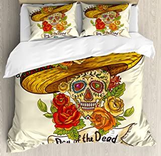 Ambesonne Sugar Skull Duvet Cover Set, Skull in a Sombrero Traditional Mexican Culture Theme Roses Day of The Dead, Decorative 3 Piece Bedding Set with 2 Pillow Shams, King Size, Pastel Cream