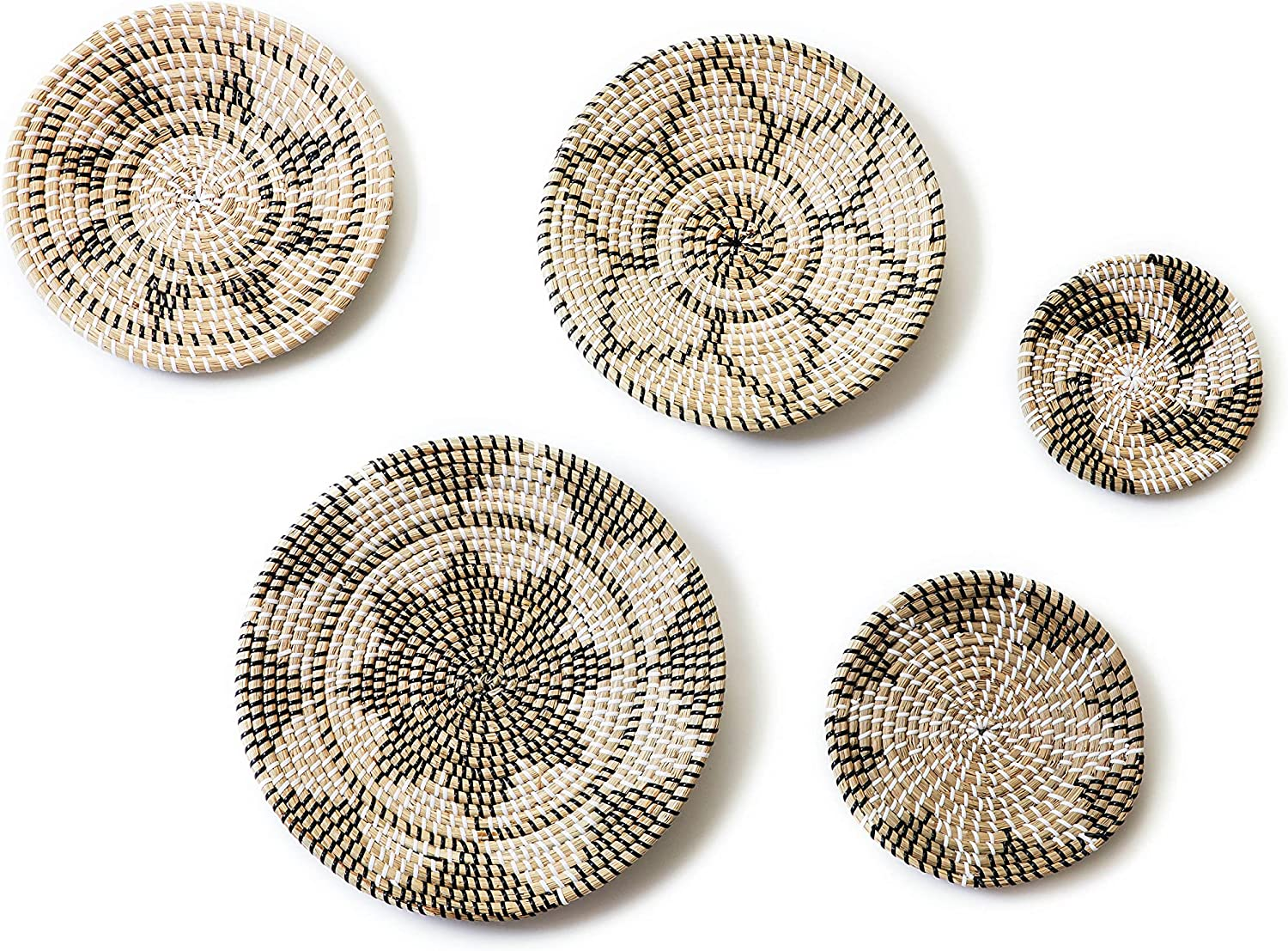 Keoocae Woven Wall Basket Set - five-piece Seagrass Hanging Woven Wall Basket, boho wall decor Perfect For Home bedroom, living room Decor,hanging wall baskets,wall decor,wicker baskets