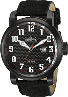 Invicta Men's Aviator Stainless Steel Japanese-Automatic Watch with Silicone Strap, Black, 29 (Model: 23076