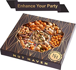 Nut Haven Holiday Nuts Christmas Gift Basket   Tasty Assortment of Crackers, Pretzels, Nuts & More   Excellent Food Gift Basket for Christmas, Thanksgiving, Family, Birthday, Sympathy, Men & Women