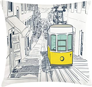 Ambesonne Urban Throw Pillow Cushion Cover by, Sketch Style City Scenery with Street Bus in Town Lisbon Modern Artwork, Decorative Square Accent Pillow Case, 16 X 16 Inches, Petrol Blue Mustard