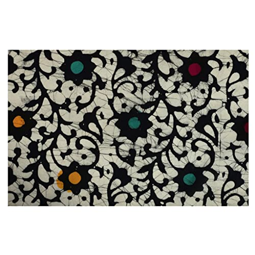 Handicraft-Palace Batic Floral Printed Natural Garment Soft Vegetable Color Running Cotton Block Print Dress Making Voile Fabric (Black_2.5 Meter)