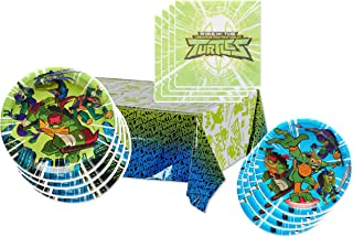 TMNT Party Supplies Tableware Pack for 16 Guests - Includes 16 Dinner Plates, 16 Dessert Plates, 16 Dinner Napkins, and 1 Tablecover, Bundle