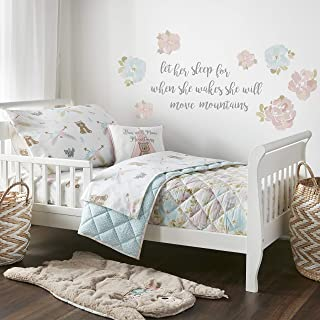 Levtex Baby Malia Floral Pink, Teal, White - 5PC Toddler Set - Kids Bedding - Reversible Quilt, Fitted Sheet, Flat Sheet, Standard Pillow Case, Decorative Pillow