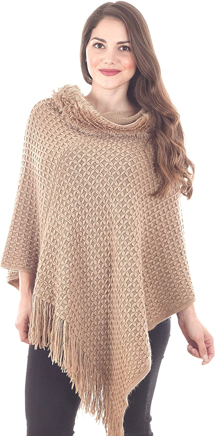 Taleen by Carino Fashions Taupe Faux Fur Poncho  23.5  x 23.5 , 100% acrylic