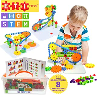 ETI Toys, STEM Learning, 192 Piece Jumbo Gears Set with Resizeable Interlocking Chain, Connector Pieces and 2 Pegboards. Build Endless Designs. Gift, Toy for 3, 4, 5 Year Old Boys and Girls.