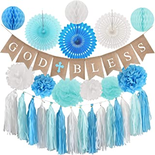 Baptism Decorations for Boy - Blue Christening party supplies - First Communion Decor - God Bless High Quality Burlap Banner With Blue Cross, Honeycomb, Paper fan, Paper Tassel, Pompoms - Church Event Favor