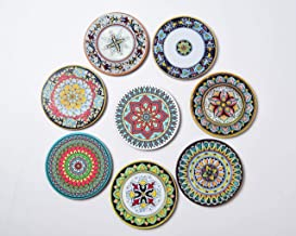 Growthbrands 8 Piece Absorbent Reusable Drink Coaster Mats - Set of 8 Moisture Absorbing Coasters Bohemia Style Cork Base for Home, Restaurant/Bar Drinks. Save Furniture From Drink & Water Rings