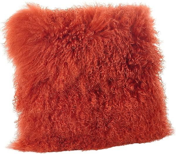 SARO LIFESTYLE 100 Wool Mongolian Lamb Fur Throw Pillow With Poly Filling 16