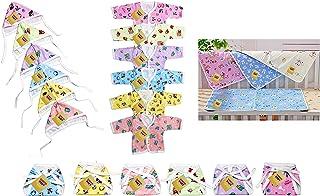 بدلة أطفال قطنية من فيرست كيدز ستيب فريتو (متعددة الألوان، 0-3 أشهر) - مجموعة مكونة من 3 قطع