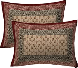 "UNIBLISS 100% Cotton 2 Piece Pillow Cover (Not Pillow) Set, 17""x 27"", Mahroon"