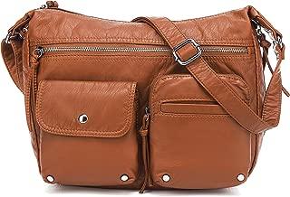 Medium Crossbody Shoulder Bag for Women, Ultra Soft Washed Vegan Leather, H1800