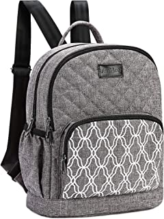 AmHoo Insulated Lunch Bag Leak-proof Reusable Cooler Backpack Best Double YKK Zippers Waterproof Multiple Pockets Quilted,Grey