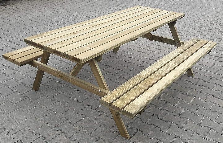 Set tavolo con panche picnic impregnato cm.180x160x71h CAP-95458