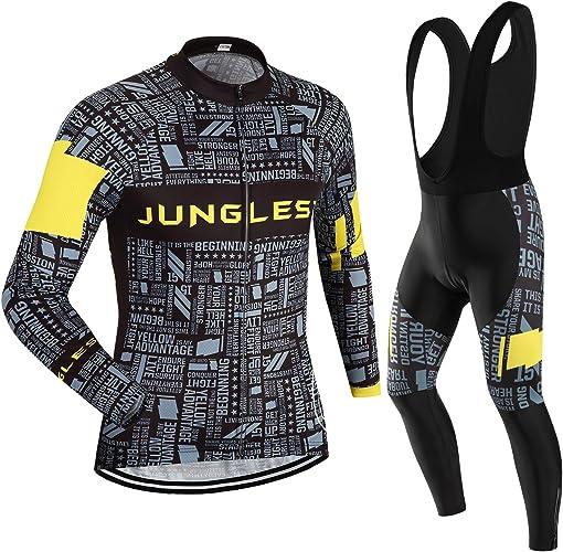 JUNGLEST Maillot de Cyclisme Homme Manches Longues Jersey(S5XL,Option Cuissard,3D Coussin) N33