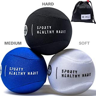 Hand Therapy Exercise Stress Ball Bundle 3 Pk for Adults and Kids - Relieve Stress/Strengthen Hands Fingers + Wrists - 3 Firmness Levels - Bonus Carry Bag - Ebook Exercise Guide and E-Coloring Book