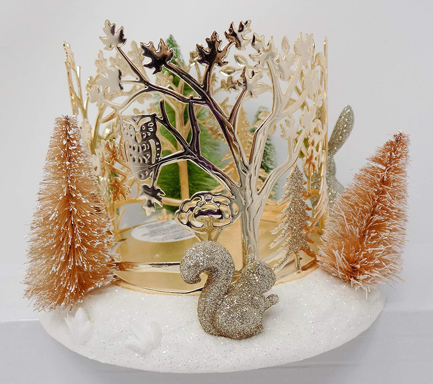 Bath Max 78% OFF Three Wick Candle Holder Winter Fox Trees Squ and Critters Max 49% OFF