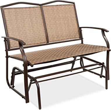 Best Choice Products 2-Person Outdoor Swing Glider, Patio Loveseat, Steel Bench Rocker for Deck, Porch w/Ergonomic Armrests,