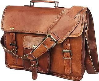 DHK 14 Inch Vintage Handmade Leather Messenger Bag for Laptop Briefcase Best Computer Satchel School distressed Bag