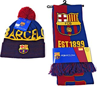 FC Barcelona Soccer Scarf Official Licensed and Barcelona Beanie Hat for Soccer Players, Fans, Coaches, and Trainers Futbol La Liga Espanol Barca Gift